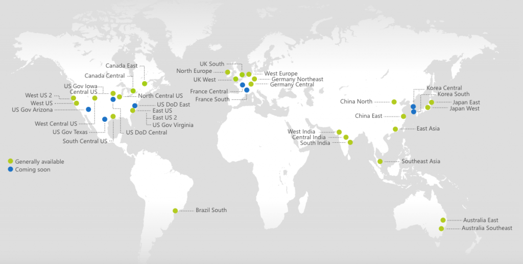 microsoft-azure-datacenter-locaties